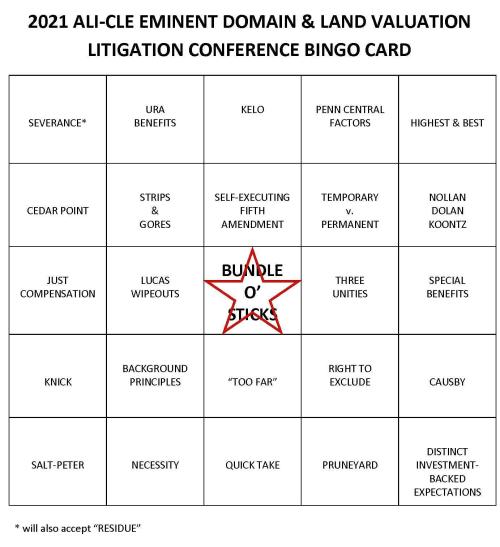 ALI-CLE 2021 Bingo card